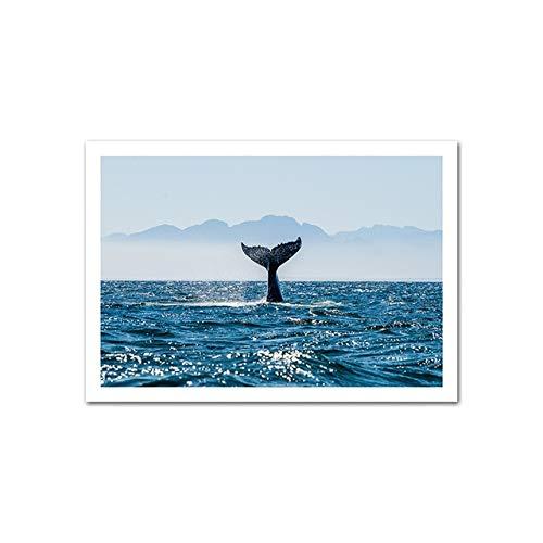 Ozean Natur Landschaft Poster Walschwanz Nordic Art Print Wand Leinwand Gemälde Skandinavische Dekoration Bild Home Rahmenlose Dekoration Leinwand Malerei A70 40x60cm