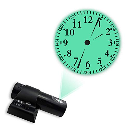 Jenghfnifer Dekorative Uhr, drehbar, Dual-Zifferblatt, LED-Display, Fernbedienung, Wand-Projektionsuhr, Wohnzimmer (Größe: freie Größe; Farbe: schwarz)