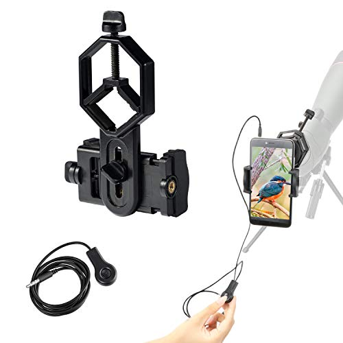 LAKWAR Adaptador para teléfono Celular + Cable Obturador; Conector Universal de fotografía rápida para Smartphone con Cable obrutador con Control para binoculares, monocular y telescópica