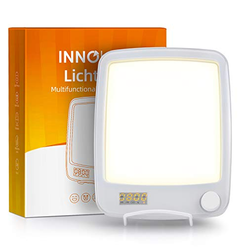 Review InnoBeta 10000 Lux Desk Lamp with Wake Up Light Alarm Clock, Sunlight Daylight Lamp with Sunr...