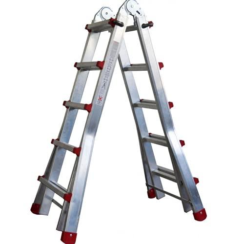 Escalera de Aluminio telescópica Plegable Multiusos, Apertura en Tijera, Multifuncional 3+3 en Dos tramos ( hasta 6+6 peldaños) Certificación EN-131.