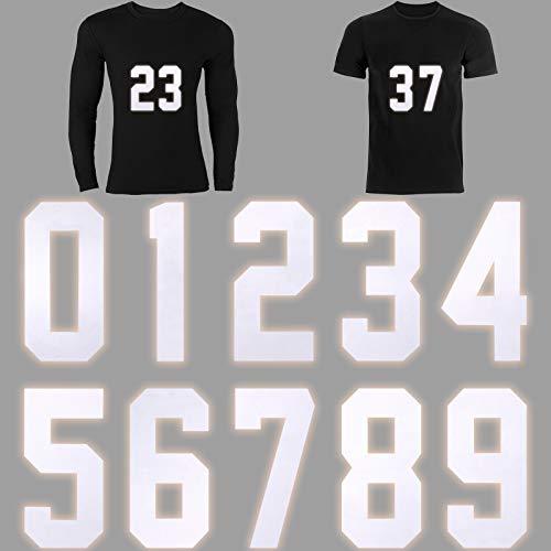 10 Piezas Números 0 a 9 Números de Plancha de Transferencia de Calor de 8 Pulgadas para Jersey Camiseta Deportiva Camiseta de Equipo de Béisbol Fútbol, Blanco Plateado Reflectante