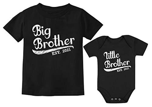 Conjunto de camisetas irmãos para meninos mais velhos irmãos 2021, 2021 Preto infantil, Kids 5/6 / Baby 12M (6-12M)