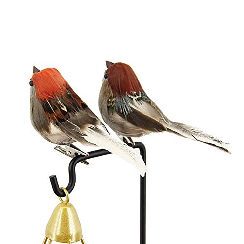 Sytauuan 12Pcs Artificial Animal Bird Spadger Sparrow with Clip Christmas Ornaments Decorations for Garden,Home,Christmas Tree,Hotel,Party,Mall,Showcase,Decorations