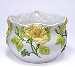 ポルトガル製 陶器 植木鉢 イエロー ローズ バラ 底穴あり 22cm ハンドメイド 直植え可 pan-h234y