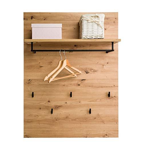 COSTWAY Wandgarderobe Holz, Wandregal mit Ablage, 5 Kleiderhaken, Kleiderstange, Flurgarderobe für Eingangsbereich, Waschküche, Schlafzimmer, Badezimmer
