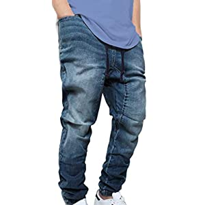 Victorious Men's DK Indigo Drop Crotch Denim Jogger Pants (3XL)