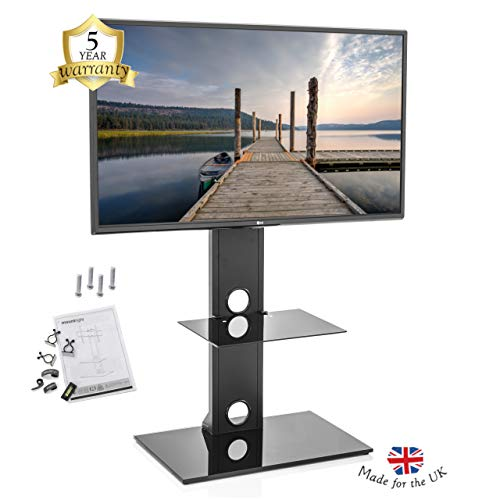 Mountright MK001 Cantilever TV Stand with Swivel Bracket (27 to 55 Inch) Black Television Unit for LED, LCD, OLED, Plasma Screens | Single Shelf Mount Support