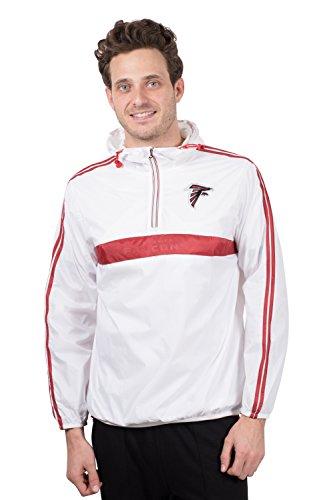 Ultra Game NFL Atlanta Falcons Mens Quarter Zip Pullover Hoodie Packable Windbreaker Jacket, White, Large