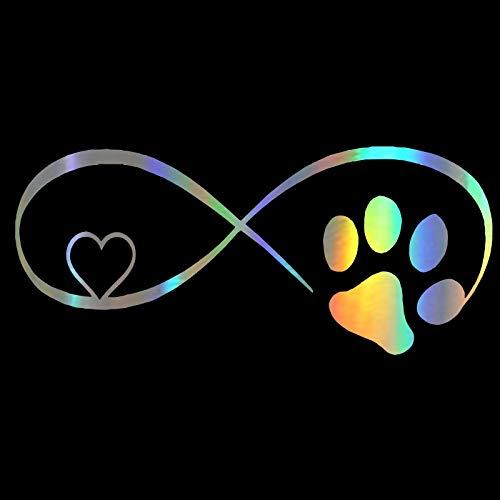 WZHLI Pegatina de vinilo para coche, 17,8 x 7,7 cm, diseño de pata de perro, gato y gato, pegatinas divertidas en el estilo creativo (nombre del color: láser)