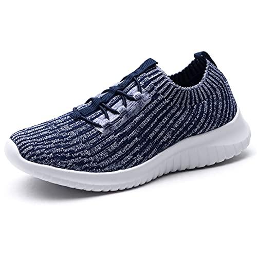 konhill Zapatillas de senderismo cómodas para mujer - Tenis atlético casual sin cordones, (2122 Azul marino), 38 EU