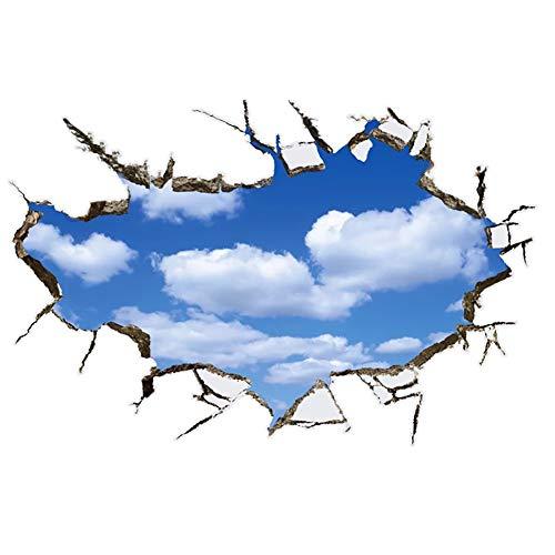 WandSticker4U®- Wandtattoo in 3D Optik: WOLKEN AM HIMMEL I Wandbild: 90x60 cm I Wandsticker blue sky poster Fensterblick I Wand Deko für Wohnzimmer Schlafzimmer Küche Bad Türaufkleber