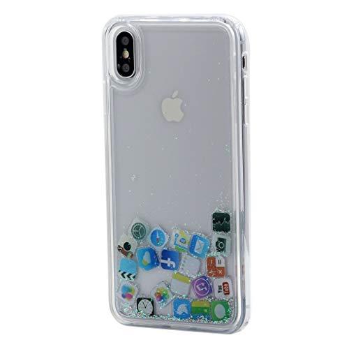 Keyihan Cover per iPhone XR 6.1 Pollici Glitter Liquido Custodia Antiurto Trasparente Disegni Divertenti Brillantini Paillettes Protettiva Case rigida con Morbida Silicone Paraurti (icone di iPhone)
