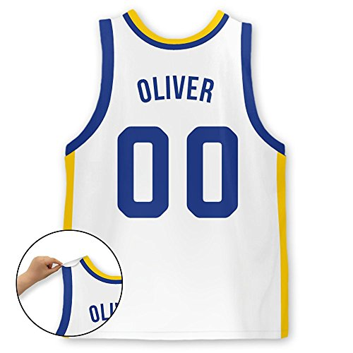 Personalized Basketball Jersey Stick-on Wall Decal (Golden State)