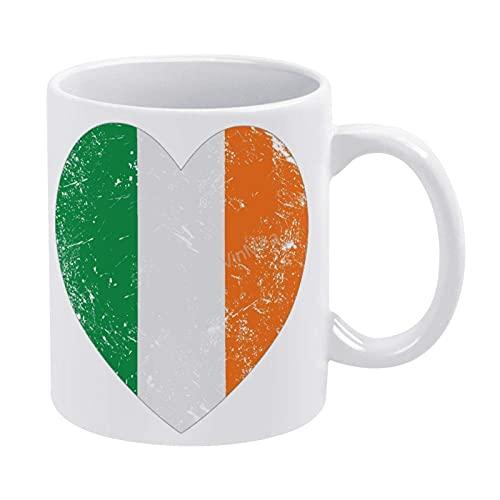 Taza de café de cerámica de 325 ml, diseño de corazón de Irlanda