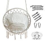 Hamaca colgante con cojín, sillón colgante para colgar, para adultos y niños, hamaca trenzada con flecos, cómoda cuerda para columpio, sillón colgante