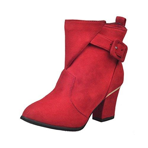 Xinantime - Hebilla de Las Mujeres Tacones Altos Martin Shoes Botas de Mujer Belt Warm Botines (36 EU, Rojo)