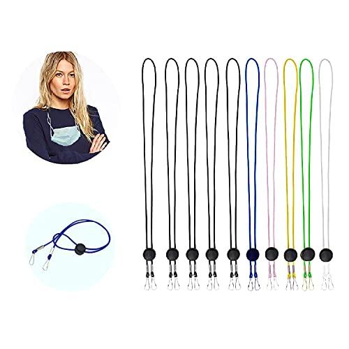 Paquete de 10 cordones para máscara de longitud ajustable,antipérdida para cadena fija.Gancho de extensión para protectores de oídos Reutilizables agarraderas ajustables para los oídos.