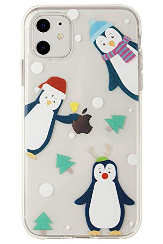 Buyus Xmas Case Designed for iPhone 11, Clear with Christmas Theme, Soft TPU Silicone Protective Cover with Cute Animal Pattern for Women and Girls (Holiday Penguins)