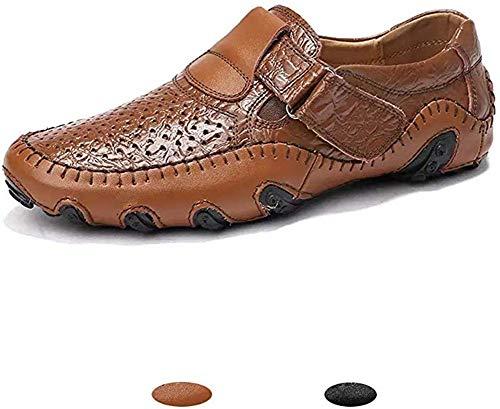Hombre Mocasines Clásico Cuero Zapatos Verano Casual Elegante Transpirable Antideslizante Oficina Shoes marrón 43(Marrón,43 EU,26.5CM De talón a Dedo del pie