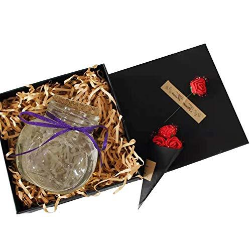 XZMAN 101 Cápsulas De Amor, Mensaje De Cápsula De Amor En Una Botella De Deseos con 1 Botella De Almacenamiento De Vidrio 1 Lámpara Y 1 Cápsula De Cartón Mensaje De Letras Regalo De San Valentín