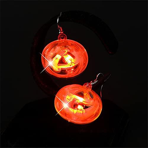 2 pares de pendientes de calavera para mujer, pendientes de calavera con luz LED, pendientes de fiesta de Halloween, pendientes de calavera, pendientes de calabaza, decoración de fiesta-Pumpkin