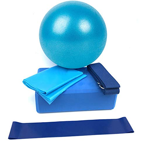 5 Pcs Yoga Beginner Equipment Sets, Essentials Beginners Bundle Accessories Set Include Fitness Mini Ball Pilates Circles Blocks Physical Stretch Strap Resistance Loop Band Exercise Band (Blue)