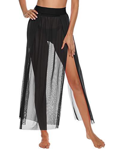 iClosam Damen Strandkleid Bikini Cover up 2020 Sommer Bikini Kleid Damen Pareos & Strandkleider,Multifunktional,Durchsichtig (Schwarz-1, Einheitsgröße)