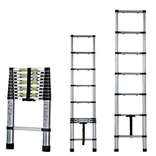 La escalera plegable de 17 pies de aluminio Extensión telescópica escaleras EN131 Estándar con mecanismo de bloqueo cargado por resorte 330 Lbs Capacidad máxima (Tamaño: 17FT) FDWFN (Size : 17ft)