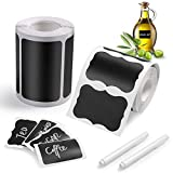 Blackboard Labels, 300PCS of Chalkboard Stickers +1 Chalk Markers, Reusable Adhesive Labels, Waterproof Labels For Kitchens, Office, Bottle (6x4cm)