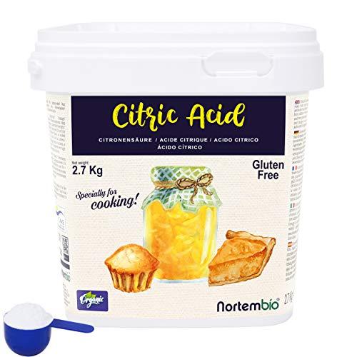 Nortembio Acide Citrique 2,7 Kg. La Meilleure Qualité Alimentaire. Intrant Biologique. Poudre, 100% Pure. E-Book Inclus.