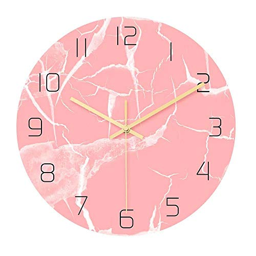 DFGSAA Reloj de Pared de mármol Rosa de Lujo Ligero de Moda con Exquisita Personalidad acrílica, Reloj silencioso Europeo y Americano decoración de la Sala de Estar de 12 Pulgadas