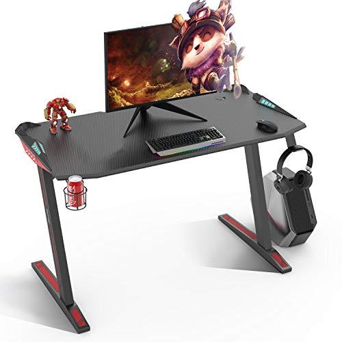 SOUTHERN WOLF mesa gaming, escritorio gaming de 47 pulgadas, estación de trabajo para juegos en casa con soporte para tazas y gancho para auriculares, mesas de jugador Pro con luces LED