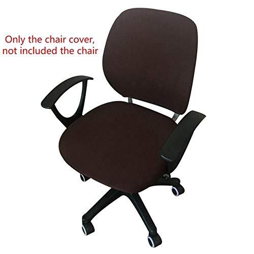 Bureaustoel hoes hoge elasticiteit verwijderbare hoes armleuning stoelhoezen voor kantoorcomputer stoel stretch stoelhoezen, donkere koffie, 50x52cm