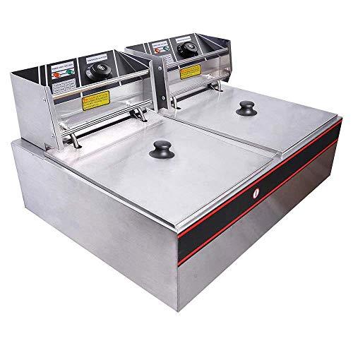 Mega Brand Dual Basket Stainless Steel Electric Countertop Deep Fryer