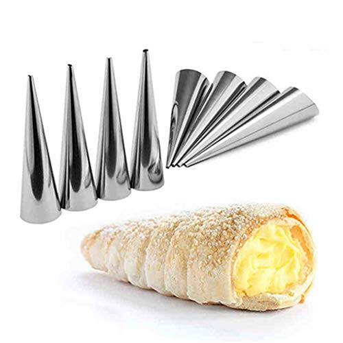 Hotaluyt 12PCS Conico Tubo Cono Rullo stampi di Acciaio Inossidabile a Spirale Croissant Stampi Pasticceria Crema Horn Torta Pane Mold