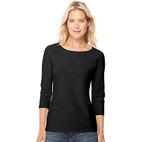 Hanes Women's Stretch Cotton Raglan Sleeve Tee, Black, Large