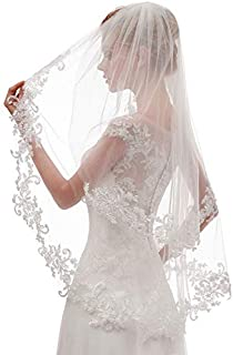EllieHouse Women's Short 2 Tier Lace Wedding Bridal Veil With Comb L24