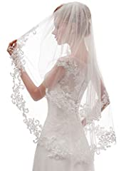 Short wedding bridal veil with comb 2 tier ,metal comb for free First tier 70 cm(27 inch) ,second tier 90 cm(35 inch)the size of the veil can be custom made ,just mail us for your specific requirements The veil characterized by the two tier design an...