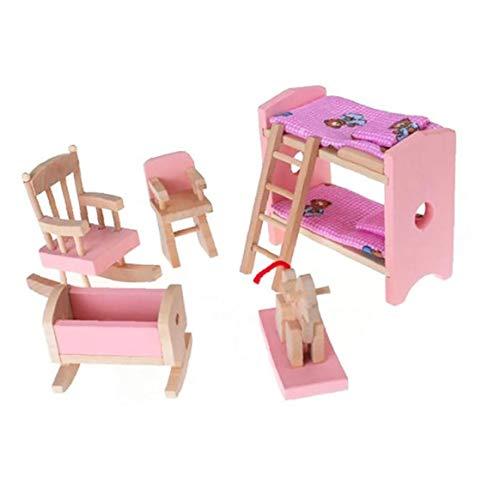 shentaotao Miniatura De Madera De Muebles Incluir Litera Presidente Cuna Kid Regalo De Los Niños De Casas De Muñecas Mini Muebles del Juguete Productos De Juguete