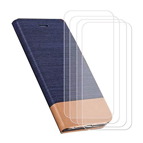 YZKJSZ Funda para Ulefone Armor X8 (5.70') + [4 Piezas] Cristal Templado Protector de Pantalla Cover Flip Folio Case PU Cuero Caso Función de Soporte Billetera Tapa Carcasa - Azul