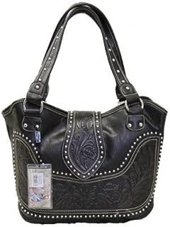 Ladies Concealed Gun Handbag Tooled Genuine Leather Black, Large