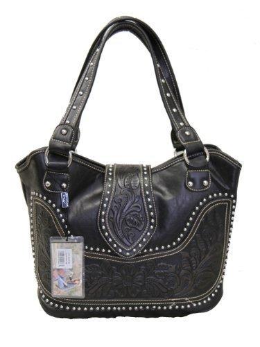 Montana West Ladies Concealed Gun Handbag Tooled Genuine Leather Black, Large