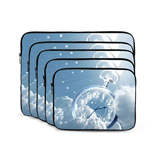 Clock Blue Sky Laptop Sleeve 10 inch, Shock Resistant Notebook Briefcase, Computer Protective Bag, Tablet Carrying Case for MacBook Pro/MacBook Air/Asus/Dell/Lenovo/Hp/Samsung/Sony