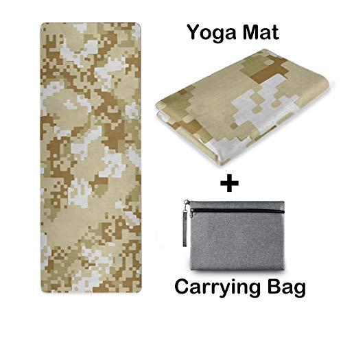 UMIRIKO Esterilla de yoga de viaje, esterilla de yoga, antideslizante, plegable, ligera, pilates, fitness, ejercicio, con bolsa de transporte para mujer, camuflaje digital 2020885