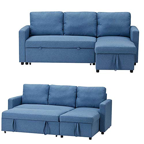 L-shaped Sofa 3 Seater Sofa Corner Sofa, Fabric Pull Out Corner Sleeper Sofa with Storage Couch, Modern Extra Comfort Sofa Bed for Living Room or Bedroom