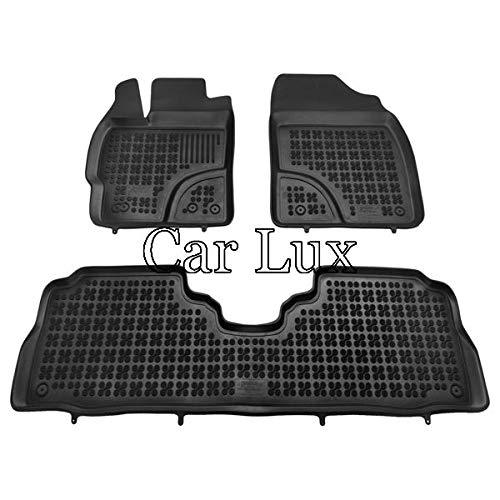 Car Lux AR04115 - Alfombras Alfombrillas de goma a medida tipo cubeta 3D con borde alto para Prius plus