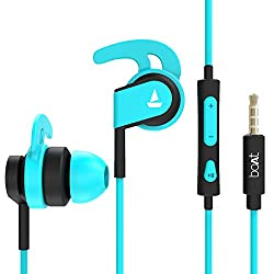 boAt Bassheads 242 Wired Sports Earphones with HD Sound, 10 mm Dynamic Drivers, IPX 4 Sweat and Water Resistance, Superior Coated Cable & in-Line Mic with Carry Pouch(Blue),Imagine Marketing Pvt Ltd,Bassheads 242