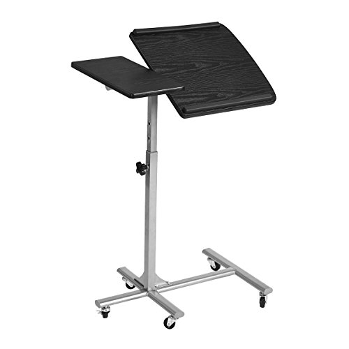 MEUBLE COSY - Mesa para Ordenador portátil, Altura Ajustable, Ruedas con Soporte Plegable de Madera, Escritorio, Color Negro, 60 x 40 x 70 x 90 cm