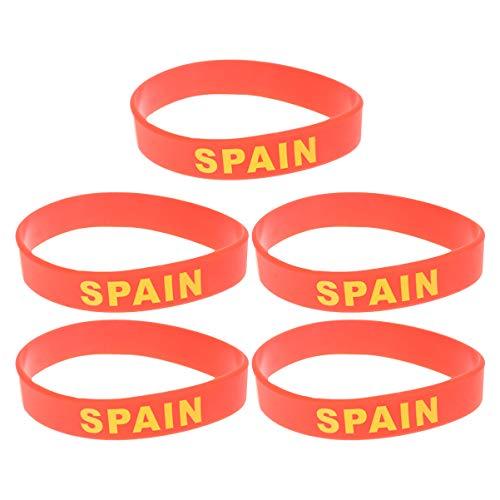 GARNECK 5 Unidades de Bandera de España Pulsera Unisex de Silicona Pulsera Deportiva de Goma de Moda para Aficionados a La Gimnasia Fútbol Baloncesto Rugby Hockey
